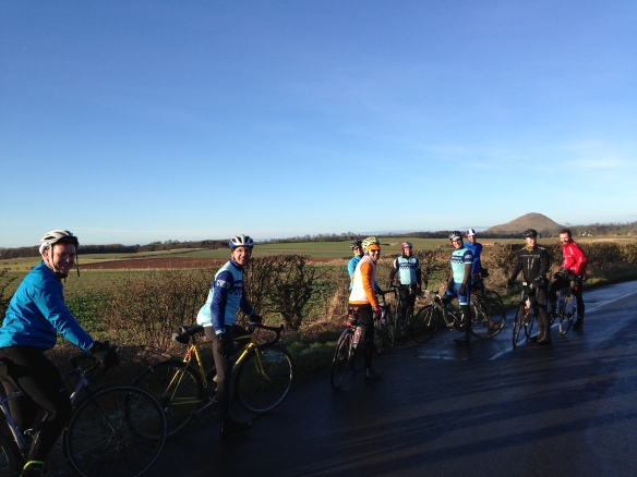 January 2015 - on the road in E Lothian, Berwick Law in the background