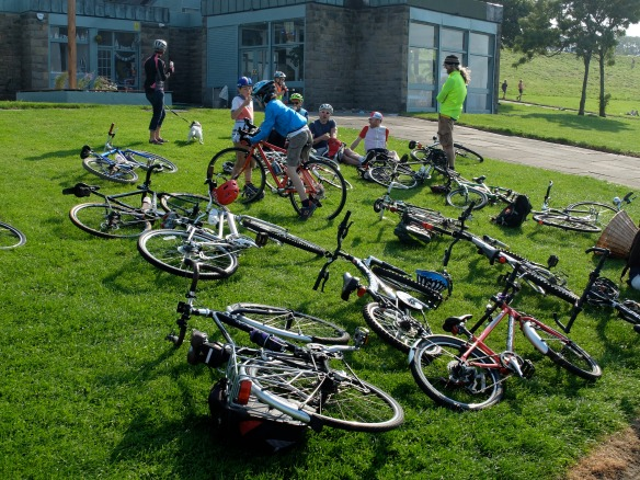 Family ride, August 2015 - bikes at Cramond, ice-cream stop