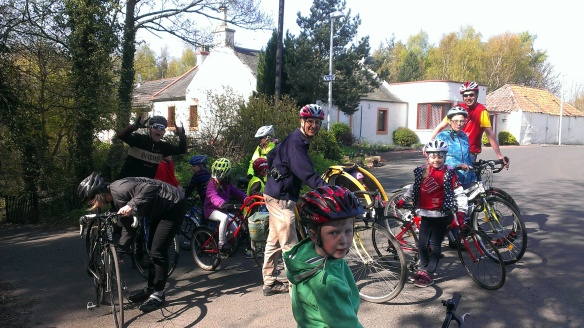 The family ride reaches the end of the River Esk path, April 2014