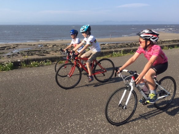 Family ride, August 2015 - the junior peloton at Cramond