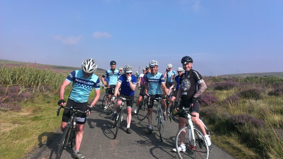 Fitness ride, August 2015 - regrouping at the top of the hill, Lammermuirs