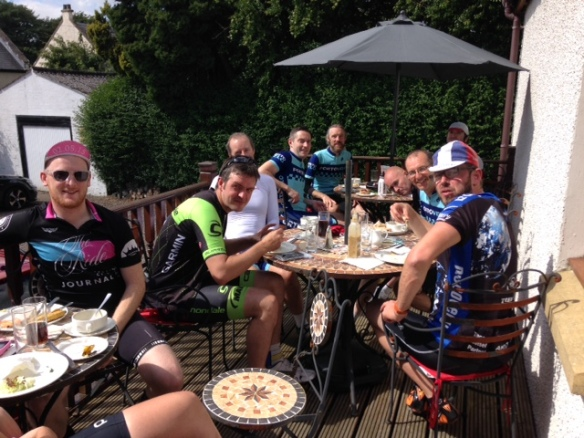Century ride, 2015 - lunch break at Mona's of Muckhart