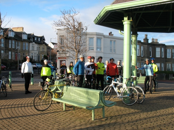 February 2014 - a big group gathers at the bandstand
