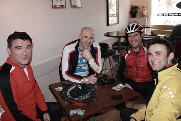 In the cafe at Haddington, inaugural ride, April 2012